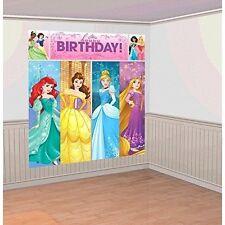 DISNEY PRINCESS SCENE SETTER Happy Birthday Party Wall Decoration Decor Backdrop