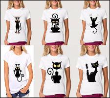 Fashion Funny Cute Cat Printed Cartoon T Shirt Women Men Summer Lovely Tees Tops