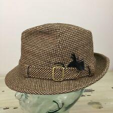 CAVANAGH - Vtg Mid-Century Brown & Tan Wool Tweed Woven Fedora Hat, Mens 7
