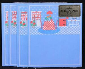 Four (4) Packages of Fold-Up Hallmark Country Kitchen 10 Recipe Cards. Sealed