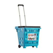 dbest products GoCart Wheeled Dolly Grocery Cart Utility Laundry Basket, Teal