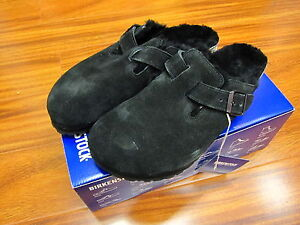 BIRKENSTOCK BOSTON FUR #0259883 Black Suede with Fur Narrow Fit NEW!