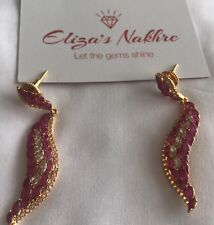 Ruby Red Antique Polki Earrings Indian/Pakistani Bollywood Style Jewellery