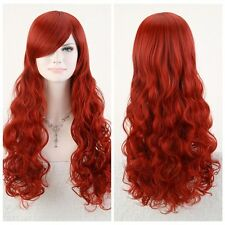 "sexy POISON IVY Batman Red Long Wavy 80cm 32"" Anime Cosplay Hair Wig~"