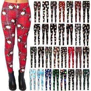 New Womens Christmas Trouser Santa Stretchy Printed Snowman Xmas Leggings Pants