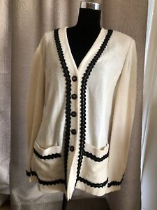 ST. JOHN COLLECTION Marie Gray Knit Cream jacket Cardigan Sweater 16