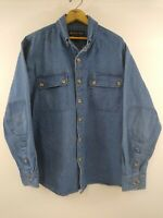 Mens Marino Bay Natural 100% Blue Cotton Denim Button Up Shirt Size Large  EUC