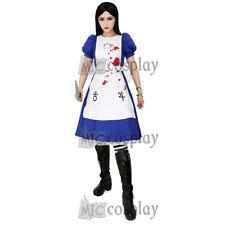 Alice Liddell Cosplay Costume Halloween Dress Apron Skull Pendant