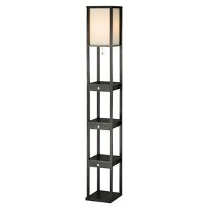 Adesso Murray Three Drawer Shelf Lamp, Black MDF Veneer - 3450-01