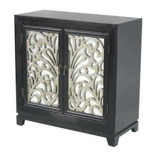 """32"""" X 14"""" X 32"""" Black W Silver MDF Wood Mirrored Glass Sideboard with Doors and"""