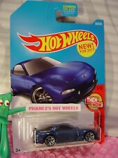 ➽NEW! '95 MAZDA RX-7 #336✰dark blue; j5✰THEN AND NOW✰2017 Hot Wheels case Q