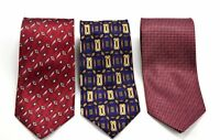 Romario Manzini Tie Lot of 3 Gently used Mens Neck Ties Blue Red Maroon