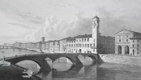 PISA Arno River Promenade Ponde di Mezzo - 1820 Antique Print by Miss Batty