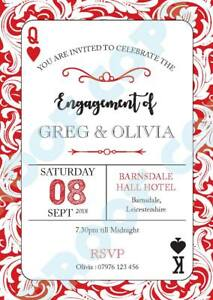PERSONALISED ENGAGEMENT PARTY PLAYING CARDS INVITES Invitations Pack of 10