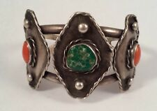 Vintage Native Indian Turquoise Coral Rhombus Sterling Silver Bracelet Cuff
