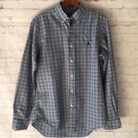 Men's Ralph Lauren Blue Plaid Long Sleeve Button Down Shirt Medium EUC