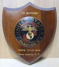 Vtg UNITED STATES MARINES Wooden and Brass Decorative Art Plaque Camp Lejeune NC