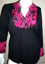 New Style & Co. Knit Top Size 1X/2X Black Pink Sparkles 2 Piece Look