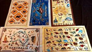 5 Australia souvenir tea towels dishcloth assorted designs NEW cotton gift