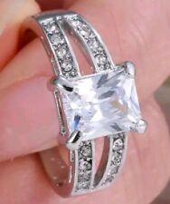 31 Ct.t.w. EMERALD CUT LARGE BRILLIANT WHITE TOPAZ DESIGN RING ~ SIZE 9