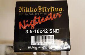 Nikko Stirling Nigheater Rifle Scope, 3.5-10x42 Sand. Duplex Reticule