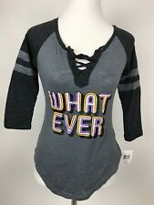 Whatever What Ever Saying Lace Up Gray Retro Shirt Distressed Graphic XS Womens