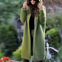 Women Spring Autumn Hooded Trench Knit Cardigan Sweater Outwear Long Jacket Coat