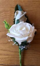 Wedding Flowers Grey / Ivory Pearls & Ribbons Corsage