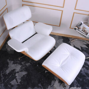 Ashwood White Lounge Chair Armchair Ottoman 100% Full Genuine Italian Leather