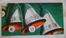 3 bells chime 50's Mcm vintage Christmas greeting card unused *7B