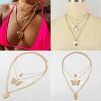 Fashion Multilayer Choker Necklace Heart Butterfly Chain Gold Women Jewelry