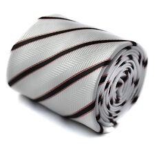 Frederick Thomas hecho a Mano Blanco Crema y Negro Rayas Corbata Hombre Boda