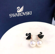 Authentic SWAROVSKI Rose Gold Iconic Swan Crystal Pearl Stud Earrings 5193949