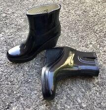 HUNTER Short Black Shiny Wedge Wellington Boots UK6 EU39 Narrow Fit Hardly Worn