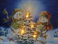 Snowman Family Christmas Picture With LED Lights Canvas Print 30x40cm