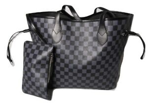 Daisy Rose Checkered Tote Shoulder Bag with Inner Pouch - PU Vegan Leather Black
