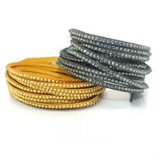 Slake Crystal Wrap 2 Bracelet made w Swarovski Crystal Yellow & Gray Alcantara ®