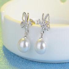 Women Girl Luxury Pearl Jewelry Silver Crystal Ear Stud Butterfly Earrings