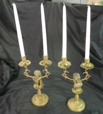 European Pair Brass Lion Candle Holders