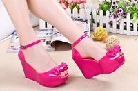 Womens Jelly Sandals Open Toe Platform Shoes Plastic Wedge High Heels Buckle k66