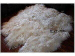 Genuine white icelandic sexto 6 sheepskin rug soft wool 100% real hand selected