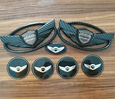 3D Black carbon fibre Wing Car Badge Emblem For Hyundai Genesis Coupe 11-15 7pcs