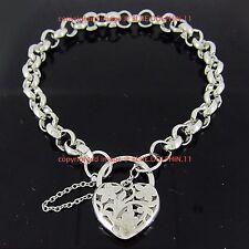 Real Solid 18k White Gold GF Bolt Ring Chain Heart Clasp Padlock Bracelet Bangle