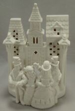 PartyLite White Porcelain Christmas Village Carolers Tealiight Candle Holder