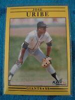 $$ Buy one get one FREE. 1991 Fleer Jose Uribe Birthday Error Giants #275