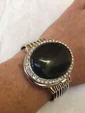 Covered Vintage Style Genuine Black Onyx Bangle Cuff Bracelet Locket Watch