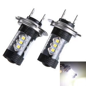 2 x Car H7 80W 3030 LED Fog Bulb Light Tail Driving Head Lamp Spotlight Auto 12V