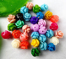 30pcs Beautiful mixed colors Giant clam carved flower pendant bead 8x8mm BJ009