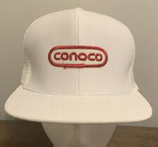 Vintage CONOCO Logo Patch Gas Station White Snapback Trucker Hat Cap