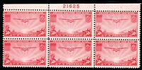 USAstamps Unused FVF US 1937 Airmail Clipper Plate Block of 6 Scott C22 OG MNH